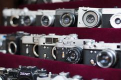Old and Retro Russian cameras on the flea market stock image