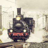 Old retro russian steam locomotive. Royalty Free Stock Images