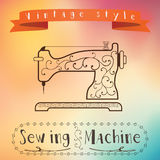 Old retro sewing machine with floral ornament on colorfull background. Vintage label design. Color flow effect. Hipster theme. Label vector illustration