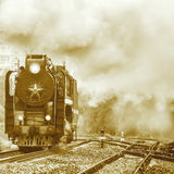 Old retro steam locomotive. Royalty Free Stock Image