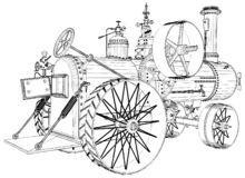 Old Retro Steam Tractor Engine Isolated On White Background Vector stock images