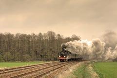 Old retro steam train stock photo