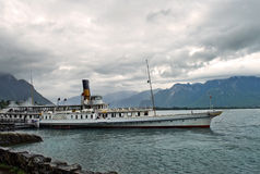 Old retro steamer on Lake Geneva Royalty Free Stock Image