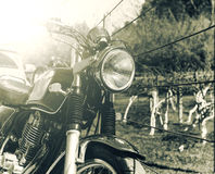 Old retro style motorcycle with vintage color process Royalty Free Stock Photography