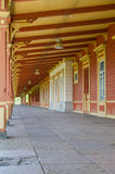 Old retro style railway station platform in Haapsalu Stock Image