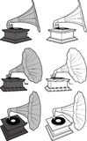 Old retro-styled gramophone. Outline Royalty Free Stock Images