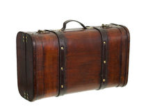 Old Retro Suitcase Standing Upright. An old retro-styled suitcase from brown wood and leather Standing Upright  isolated over white Royalty Free Stock Images