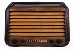 Old retro table tube radio. Isolated on white background Stock Photo