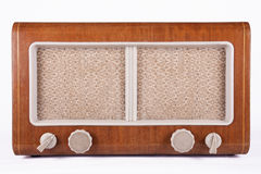 Old retro table tube radio. Isolated on white background Royalty Free Stock Photos