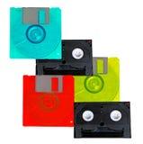 Old retro tapes and floppy discs Stock Photo