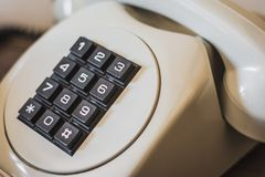 Old retro telephone from 80s stock photos
