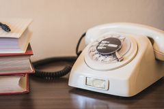 Old retro telephone from 80s royalty free stock image