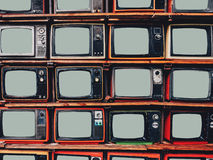 Old retro television and blank screen display royalty free stock photo
