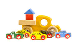 Old retro toy cars isolated on white background Royalty Free Stock Image
