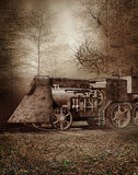Old retro train in the forest Stock Image