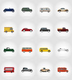Old retro transport flat icons vector illustration Royalty Free Stock Photography