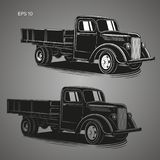 Old retro truck vector illustration. Vintage transport vehicle Royalty Free Stock Photography