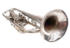 Old retro trumpet isolated Stock Image