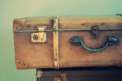 Old Retro Trunk with handle and lock Royalty Free Stock Photography