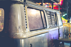 Old Retro Van In The Market. Old Vintage Van In The Market Making As A Drink Bar Royalty Free Stock Photos
