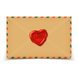 Old retro vector envelope with wax seal in heart shape, love letter Royalty Free Stock Image