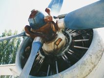 Old retro vintage airplane engine in the museum.  Royalty Free Stock Photos