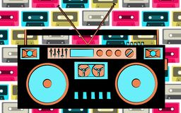 Old retro vintage antique hipster obsolete cassette music audio tape recorder on a background of multi-colored music audio cassett. Es. Vector illustration Royalty Free Stock Photography