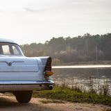 Old retro or vintage car back side Stock Photography