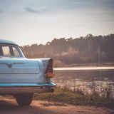 Old retro or vintage car back side. Vintage effect processing Stock Photography