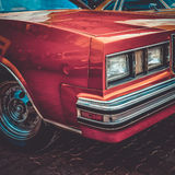 Old retro or vintage car front side. Vintage effect processing Royalty Free Stock Image