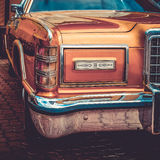 Old retro or vintage car front side. Vintage effect processing Royalty Free Stock Photo