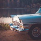 Old retro or vintage car front side. Vintage effect processing Royalty Free Stock Image