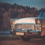 Old retro or vintage car front side. Vintage effect processing Stock Photos