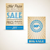 Old retro vintage grunge cards for sale Royalty Free Stock Photo