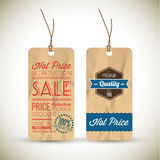 Old retro vintage grunge tags Stock Images