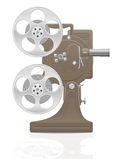 Old retro vintage movie film projector vector illustration. On white background Royalty Free Stock Image