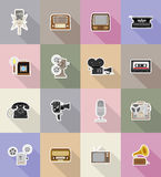 Old retro vintage multimedia flat icons vector illustration Royalty Free Stock Photography