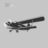 Old retro vintage piston engine biplane airliner. Vector illustration. Passenger aircraft Stock Images