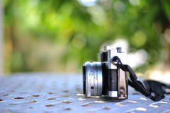 the old retro vintage of rangefinder film camera style is the cl Royalty Free Stock Photography