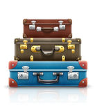 Old retro vintage suitcases bags pile for travel. Eps10 vector illustration. On white background Royalty Free Stock Photo