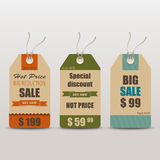 Old retro vintage tag cards for sale Royalty Free Stock Photos