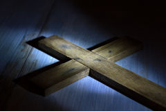 Old retro wooden cross in night. Abstract easter concept Royalty Free Stock Photos
