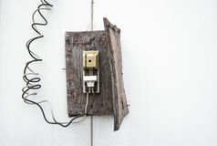 Old retro wooden electric switch Stock Photos