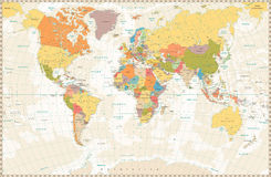 Old retro World Map with lakes and rivers Stock Photo