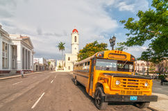 Old retro yellow school bus parked at Jose Marti park Royalty Free Stock Images