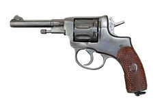 Old revolver. Old Nagant revolver. Clipping path included Stock Photos