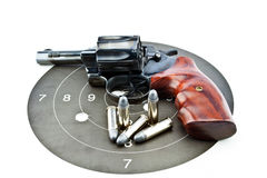 Old revolver with bullets Royalty Free Stock Images