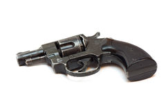 Old revolver gun isolated over white Stock Images