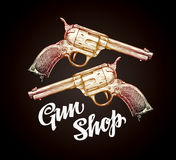 Old revolver, handgun. Cowboy gun vector illustration Stock Image