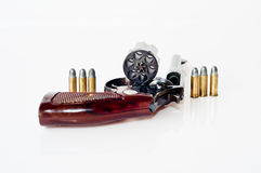 Old  revolver six bullets Stock Photos